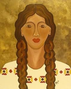 Curandera, pintura de la artista Mia Román Hernández