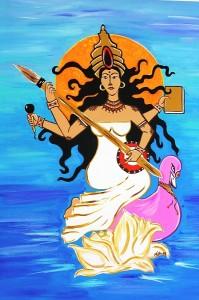 Goddess Saraswati (Diosa Saraswati), pintura de la artista Mia Román Hernández