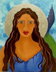 Goddess of the Ocean (Diosa del Mar), pintura de la artista Mia Román Hernández