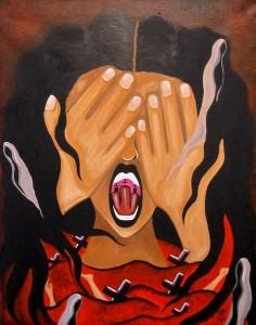 Haunted Nightmares, pintura de la artista Mia Román Hernández