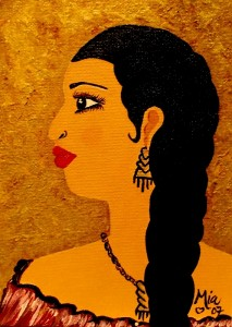 Indian Woman Art, pintura de la artista Mia Román Hernández