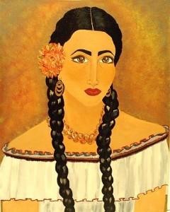 The Mona Mia, painting by Latina Nuyo Rican artist Mia Roman Hernandez